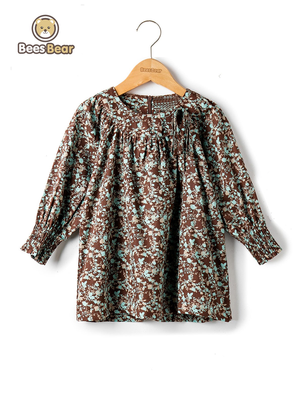 Cheap Stylish Long Sleeve Full Print Loose Fitting Dress