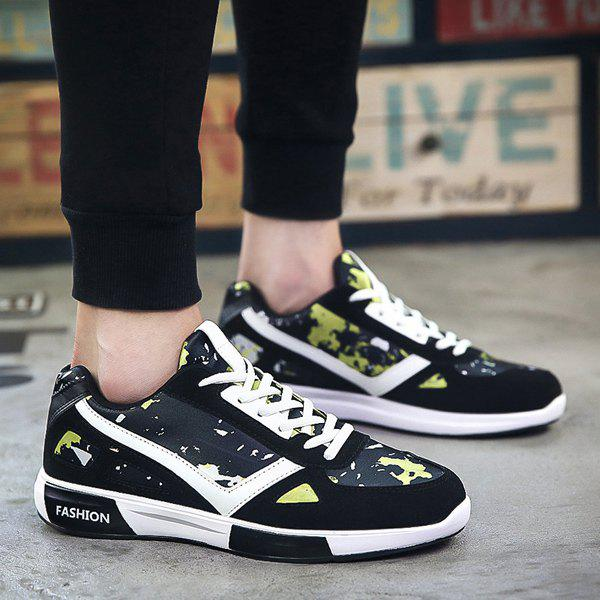 Buy Fashion Lace-Up and Color Block Design Athletic Shoes For Men