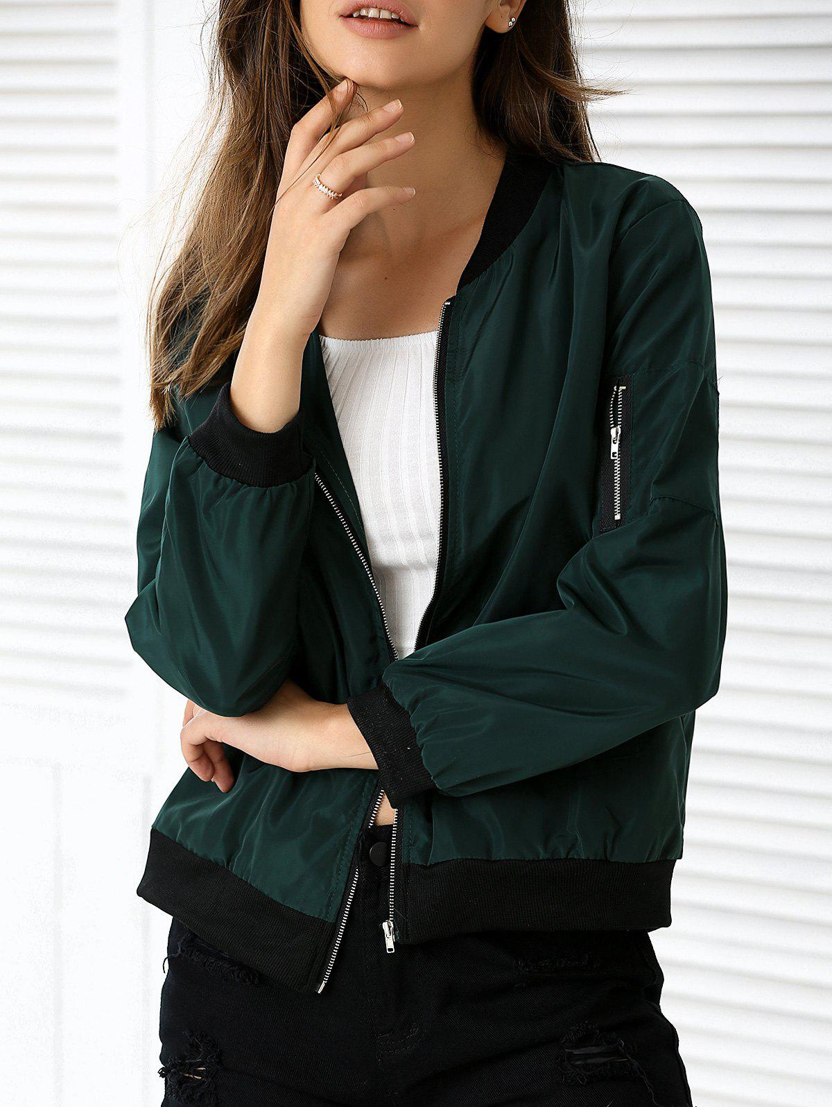 Outfit Zipper Design Pocket Bomber Jacket