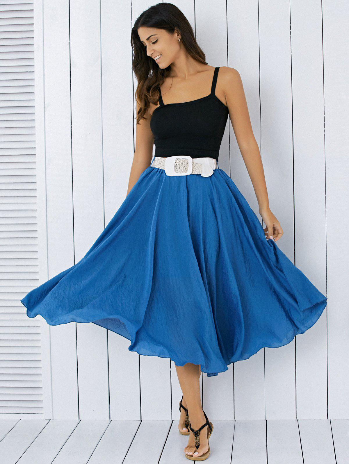 9d0d9ef16 20% OFF] High Waisted Frilly Chiffon Midi Skirt With Belt | Rosegal