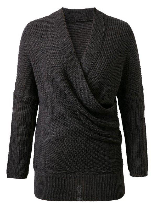 Shop V-Neck Solid Color Knitted Sweater