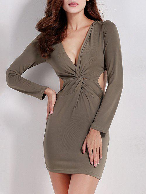 Affordable Twist Zip Long Sleeve Night Out Dress