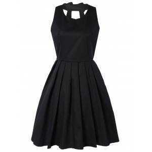 Pure Color Back Bowknot Hollow Out Pleated Dress - Black - S