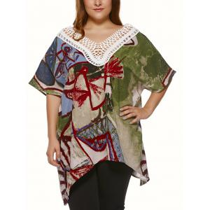Plus Size Vintage Tribal Print Lace Spliced Asymmetric Blouse - Colormix - Xl