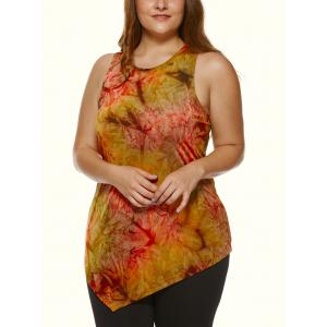 Plus Size Abstract Printed Asymmetric Tank Top