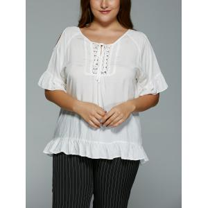 Plus Size Hollow Out Lace Spliced Flounce Blouse - White - 4xl