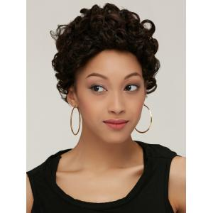 Black Brown Boy Cut Fashion Short Fluffy Curly Synthetic Wig