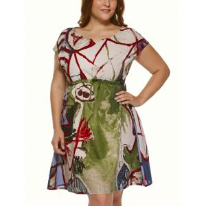 Plus Size Short Sleeve Wash Painting Mini Dress