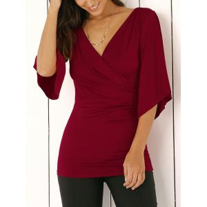 Wrap Plunge Neck Slimming Blouse