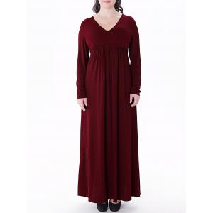 Plus Size Empire Waist Long Formal Dress - Wine Red - 4xl