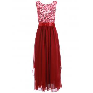 Lace Panel Chiffon Long Evening Prom Dress - Wine Red - Xl