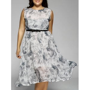Plus Size Flowers Print Sleeveless Midi Dress - Light Gray - 3xl