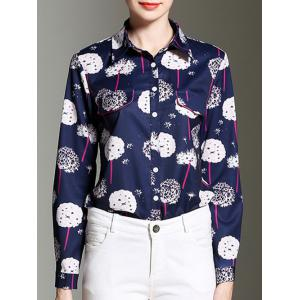Dandelion Print Button Design Formal Shirt