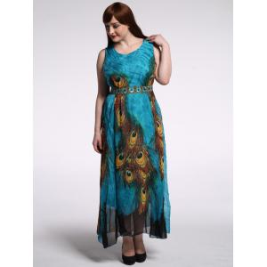 High Waist Plus Size Animal Print Maxi Dress