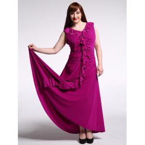 Plus Size Flounce Long Evening Dress