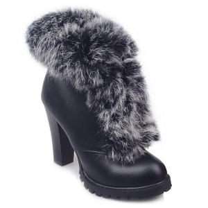 Faux Fur Lace-Up Design Ankle Boots - Black - 39