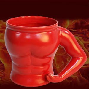 Thicken Drinkware Muscle Shape Ceramic Mug - Red