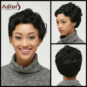 Ultrashort Pixie Cut Fluffy Curly Synthetic Wig - Black