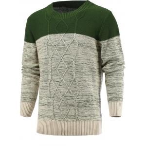 Spliced Geometric Knitted Long Sleeve Sweater - Deep Green - M