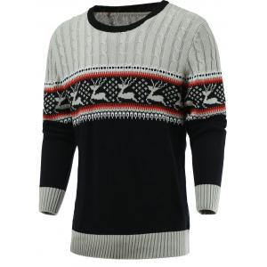 Color Blocks Spliced Elk Knitted Sweater - Gray - M