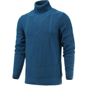 Turtleneck Long Sleeve Geometric Knitted Sweater - Blue - S
