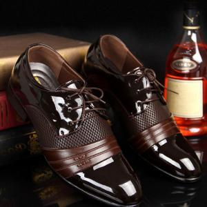 Hollow Out Lace Up Formal Shoes - Brown - 42