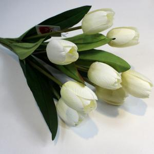 A Bouquet of 9 Heads Tulip Home Decor Artificial Flower - White