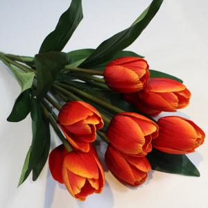 A Bouquet of 9 Heads Tulip Home Decor Artificial Flower - Orange - S