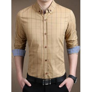 Plaid Long Sleeve Button-Down Shirt - Khaki - M