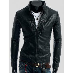 Zippers Design Long Sleeve PU Leather Jacket - Black - Xl