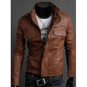 Pockets Design Long Sleeve PU Leather Jacket - Light Brown - 2xl
