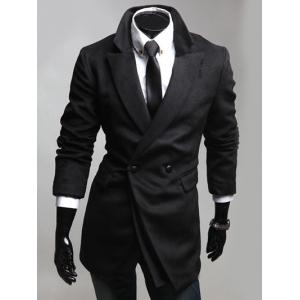 Notched Lapel Collar Double Breast Coat