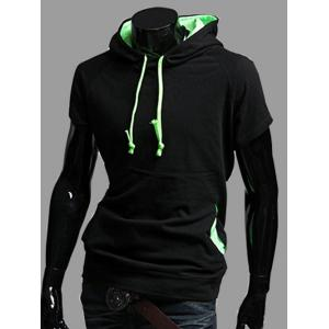 Hit Color Design Short Sleeve Hoodie for Men