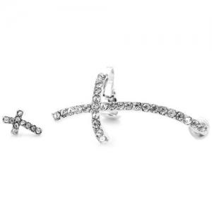 Pair of Alloy Rhinestone Cross Earrings