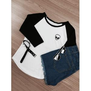 Raglan Sleeve Color Block Skull Print T-Shirt