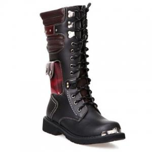 Stylish Color Block and Metal Design Combat Boots For Men - Black - 41