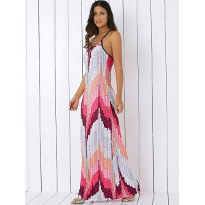 Printed Summer Maxi Slip Dress - LIGHT PINK L