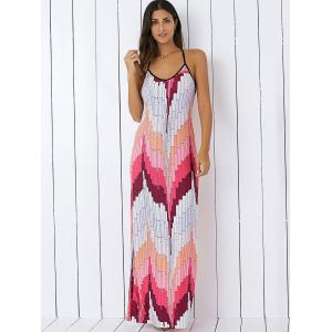 Printed Summer Maxi Slip Dress - LIGHT PINK M