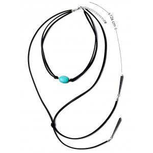 PU Leather Faux Turquoise Bar Pendant Choker -
