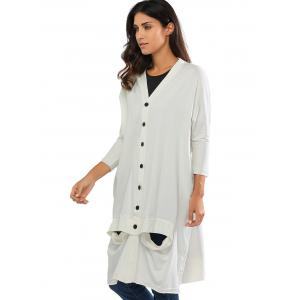 Collarless Cut Out Longline Button Up Cardigan -