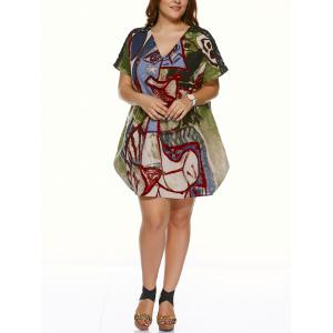 Plus Size Vintage V Neck Ethnic Print Mini Dress -