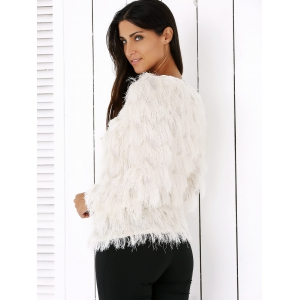 Wavy Fringed Design Pullover Sweater -