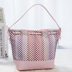 Trendy Tiny Plaid and Splicing Design Shoulder Bag For Women - PINK
