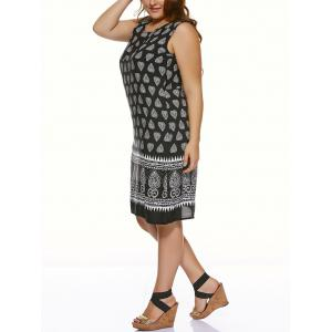 Plus Size Tribal Print Casual Sleeveless Dress - BLACK 5XL