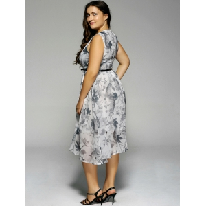 Plus Size Flowers Print Sleeveless Midi Dress - LIGHT GRAY 5XL