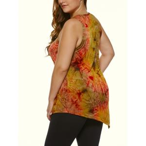 Plus Size Abstract Printed Asymmetric Tank Top - COLORMIX 4XL