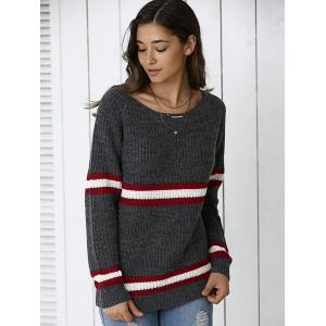 Striped Hit Color Pullover Sweater - DEEP GRAY ONE SIZE