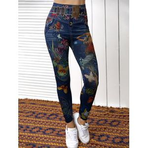 High Waist Butterfly Print Skinny Pants - BLUE ONE SIZE