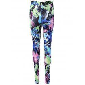 Color Block Letter Elastic Waist Leggings -