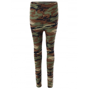 Elastic Waist Hit Color Camo Print Leggings -